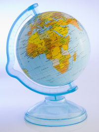 Photo shows a globe