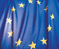 Photo shows the flag of the European Union