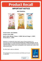 Photo shows an Aldi Oddbites product recall notice
