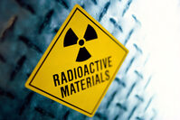 Photo shows a label warning about radioactive materials