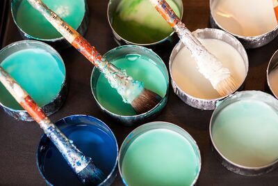 Photo shows pots of paint