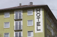 Photo shows a hotel