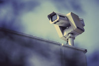 Photo shows a security camera